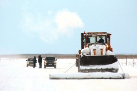 The particular treatment acts on winter roads of Yamal